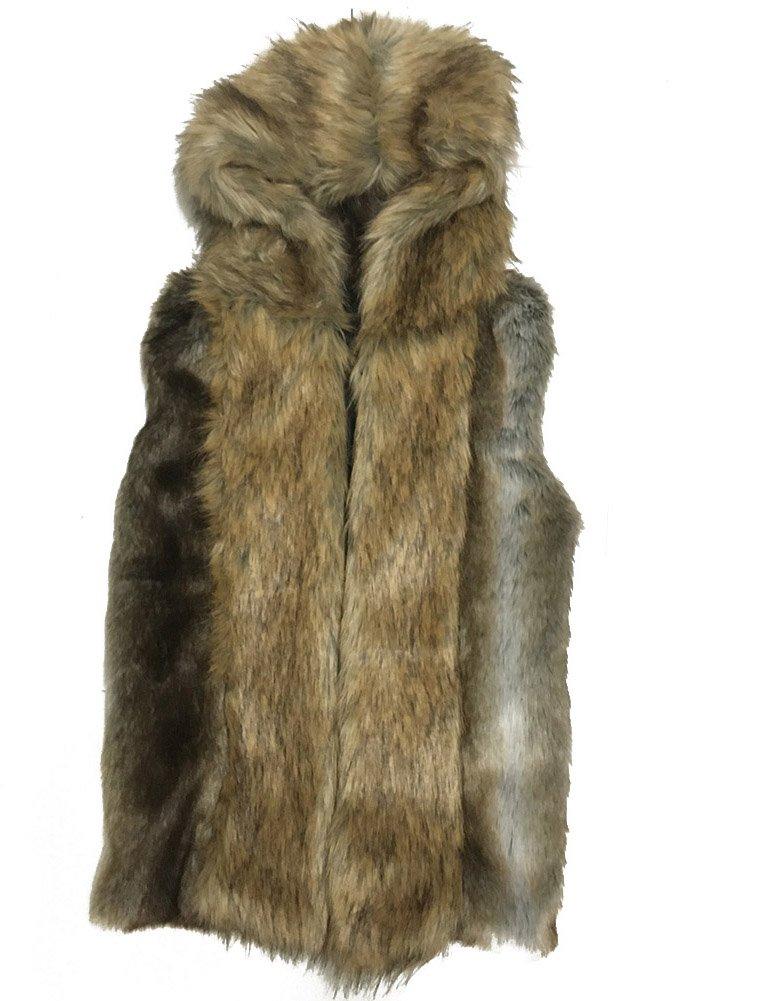 Moonwalk Men`s Faux Fur Hooded Sleeveless Vest Large Grey by Moonwalk