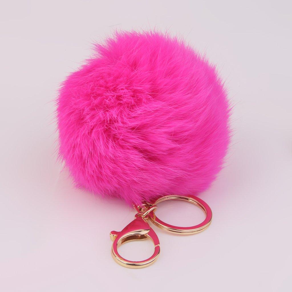 Rose Rouge Porte-cl/és Pompon Boule de Fourrure de Lapin Artificielle