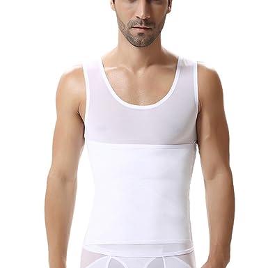 07a3c1f55bdb5 GUOCU Homme Débardeur Gainant Ventre Plat T Shirt Amincissant Top de  Compression sans Manches Blanc M