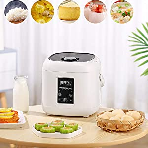 GAYBJ Rice Cooker Steamer Electric Rice Cooker with Non Stick Stainless Steel Removable Pot 1.8L 300W Easy to use Warming Function Suitable for Home use by 3~4 People