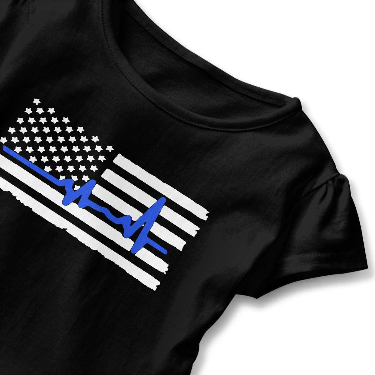Police Heartbeat Thin Blue Line Shirt Kids Girls Short Sleeve Ruffles Shirt T-Shirt for 2-6 Toddlers