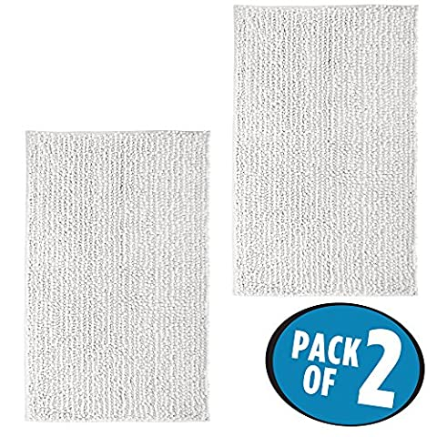 mDesign Soft Microfiber Shag Bath Mat/Rug for Bathroom, Vanity, Bathtub/Shower, Dorm Room - Pack of 2, 30