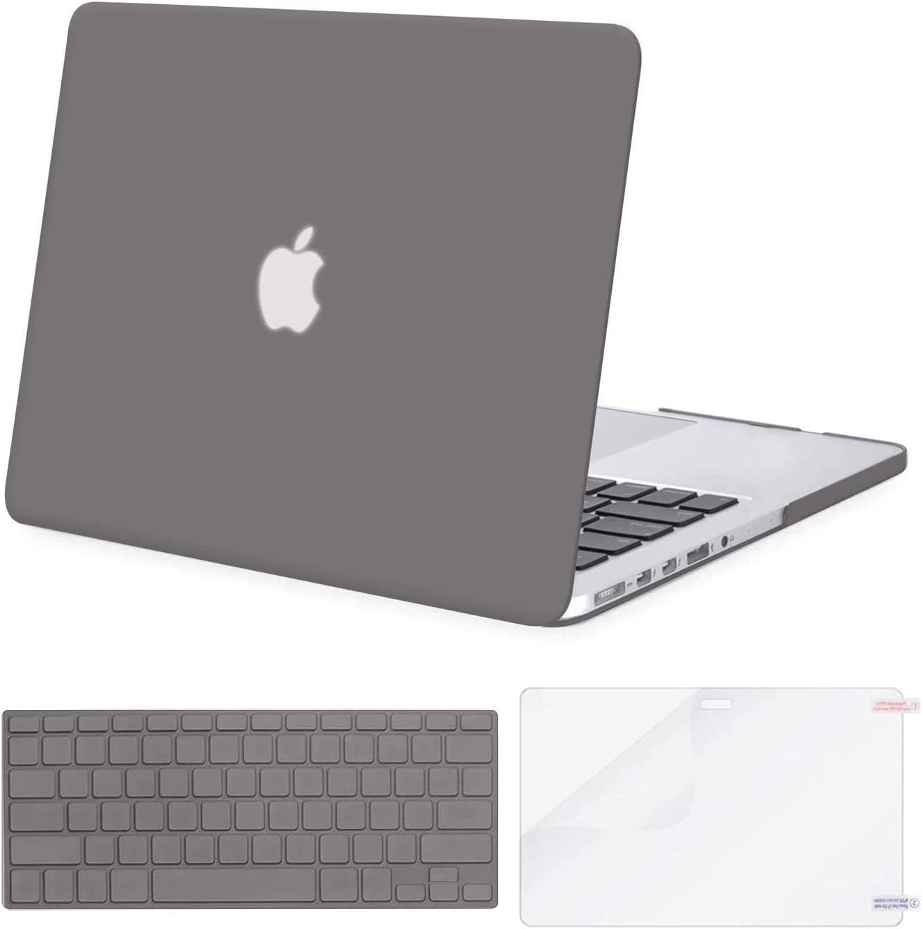 MOSISO Case Only Compatible with Older Version MacBook Pro Retina 13 inch (Models: A1502 & A1425) (Release 2015 - end 2012), Plastic Hard Shell Case & Keyboard Cover & Screen Protector, Gray