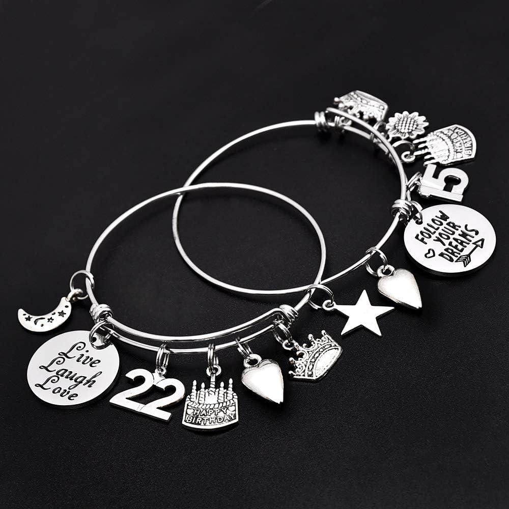 Daughter Grandma Jewelry Present Wife Mom Expandable Charm Bracelets 10th 20th 30th 40th 50th 60th 70th 80th 90th Birthday Gift For Friend M Mooham Birthday Gifts For Women Girls Bracelet Bracelets