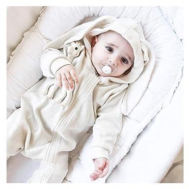 0f0f4195d Amazon.com  Baby Rabbit Hooded Romper Cute Infant 3D Bunny Hoodie ...