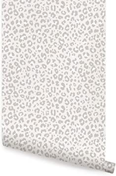 Animal Print Leopard Wallpaper Peel And Stick By Simple Shapes Single Sheet 2ft X 4ft Light Grey Amazon Com