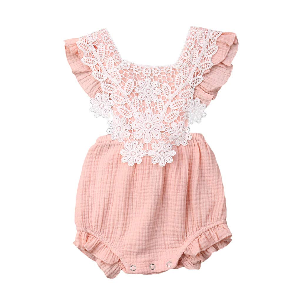 NUWFOR Newborn Infant Baby Girl Lace Floral Romper Bodysuit Sleeeless Clothes Outfits(Pink,0-6 Months)