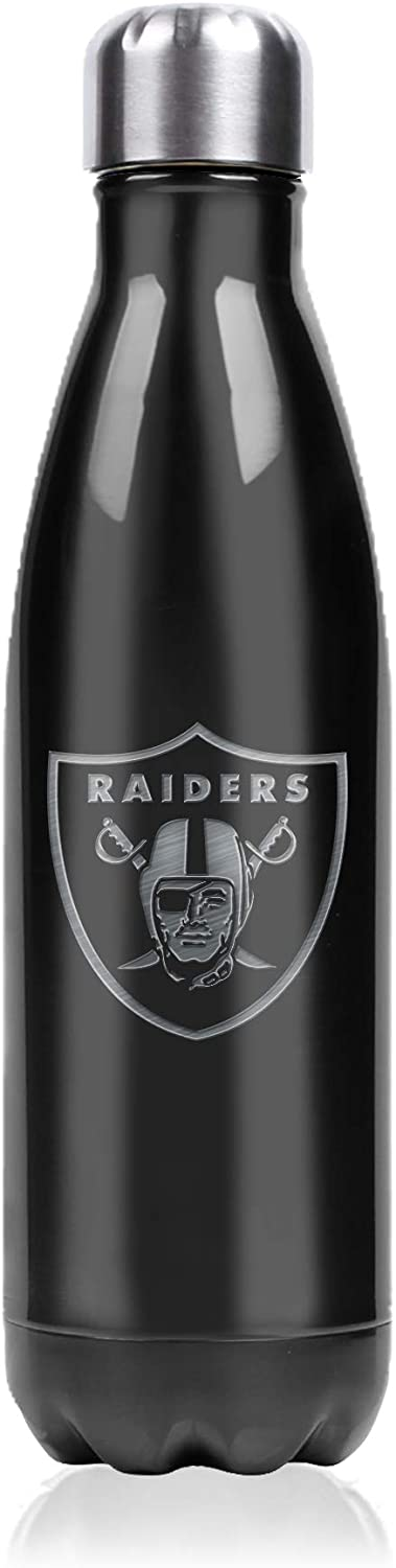 Precision Laser Engraved Team Logo Double Wall Vacuum Sealed Insulation 17 oz Metallic Finish NFL Stainless Steel Water Bottle Leak Proof