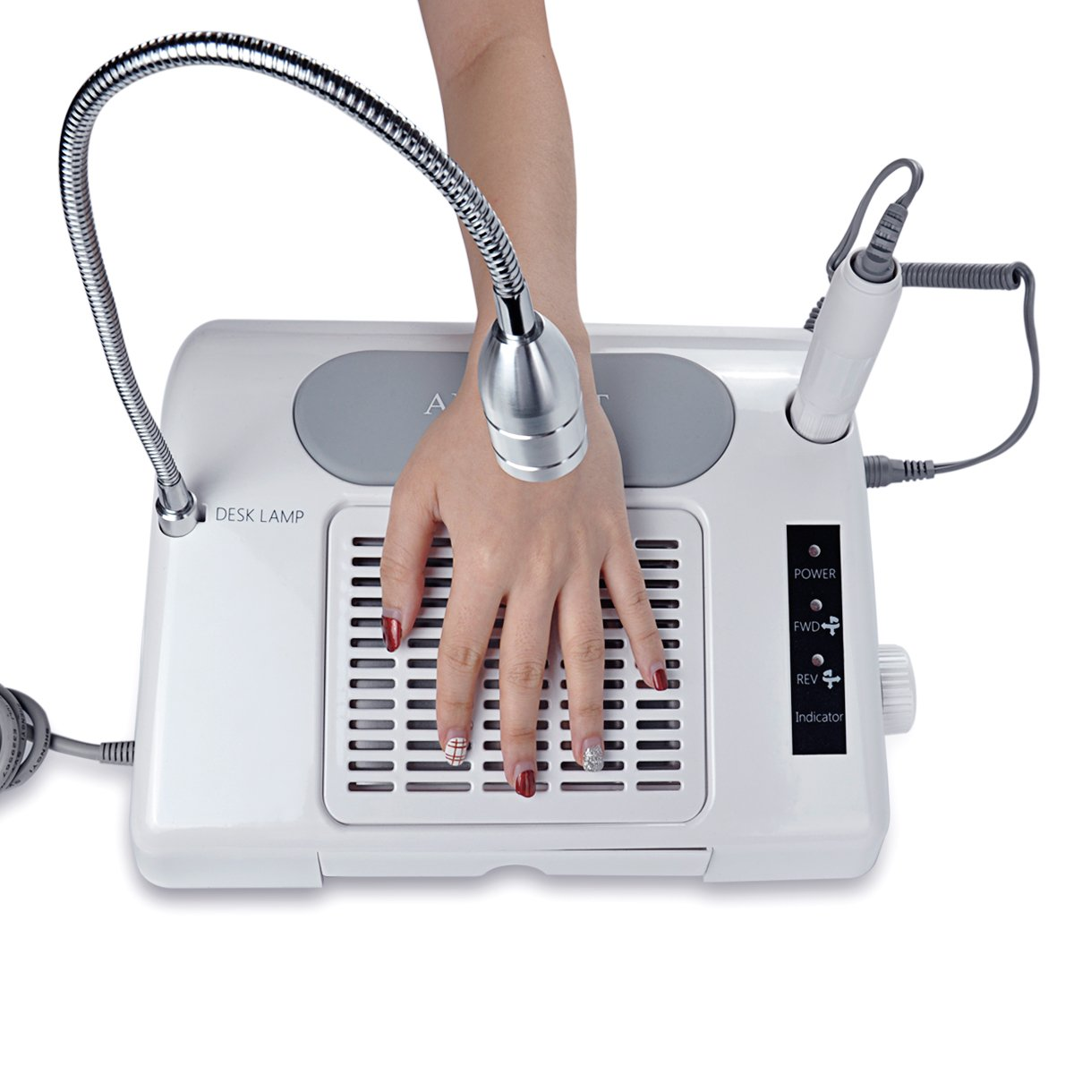 Biutee Pro 3 in 1 Multifunctional Salon Nail Art Equipment Tool Nail Art Drill Suction Dust Collector Machine with Desk Lamp 35000rpm Nail Driller Nail dust collector Desk lamp