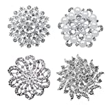 L'vow Silver Crystal Rhinestones Broaches Wedding Brooch Pins Corsage for DIY Bouquets Kit Pack of 4 (Silver)