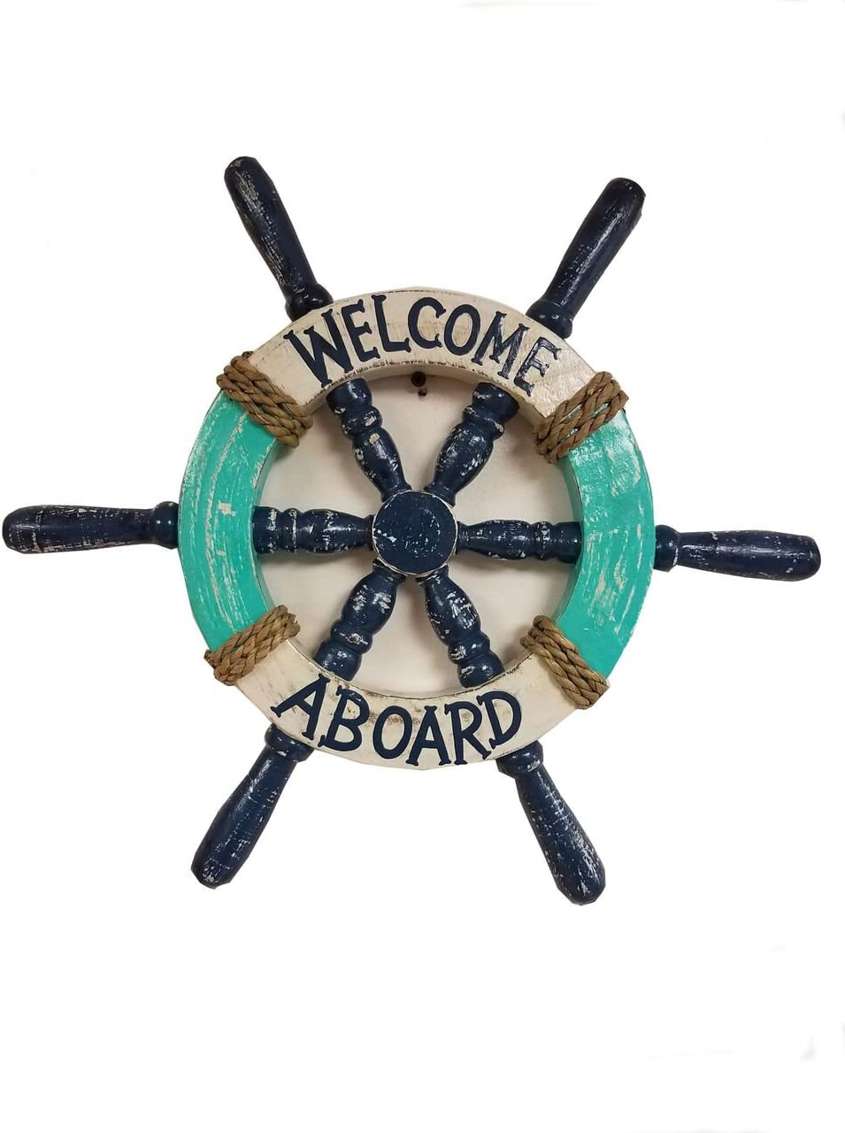 BEAUTIFUL HANDCARVED PAINTED WOOD WELCOME ABOARD SHIPS WHEEL NAUTICAL DECOR