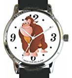 """Save Our Wildlife"" Large Polished Chrome Watch with Black Leather Strap has a ""Gorilla"" image and Donation to the African Wildlife Foundation"