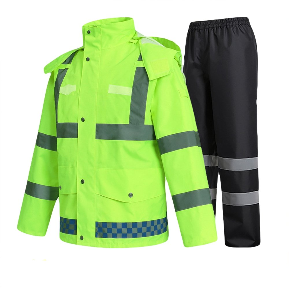 Liveinu High Visibility Reflective Rain Jacket PVC Waterproof Safety Raincoat Hoodie Hi Viz Rain Suits for Men Neon Green 1 XL