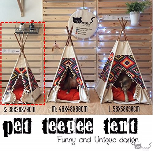 THAI Pet Teepee Handmade Size S_38x38x70 cm TP005 Pet teepee, Dog teepee, Cat teepee, Cat bed, Dog bed, Dog tent and Dog house FREE pet toy for all purchase! Pet toy made from 100% cotton and ha by WilaaMalin (Image #3)