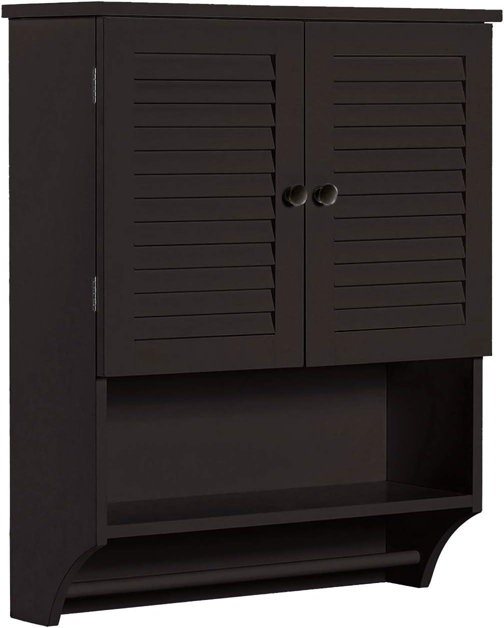 ChooChoo Bathroom Medicine Cabinet 2-Door Wall Cabinet Wood Hanging Cabinet with Adjustable Shelves and Towels Bar, Espresso