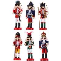 Amosfun Conjunto de 6 bonecos quebra-nozes de Natal, enfeite de soldado de madeira para pendurar, quebra-nozes de…