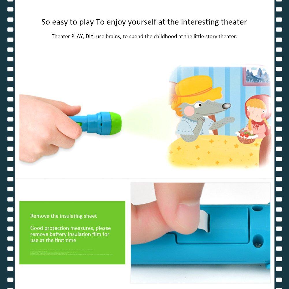 Pueri Linternas Proyector de 4 Cuentos Infantiles para Niños Juguetes Educativo Iluminación Nocturno
