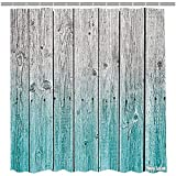 Pink Double Swag Shower Curtain Amoy Lefan Rustic Shower Curtain,Wood Panels Background with Digital Tones Effect Country House Image, Fabric Bathroom Decor Set with Hooks, 72 Inch,Teal Grey