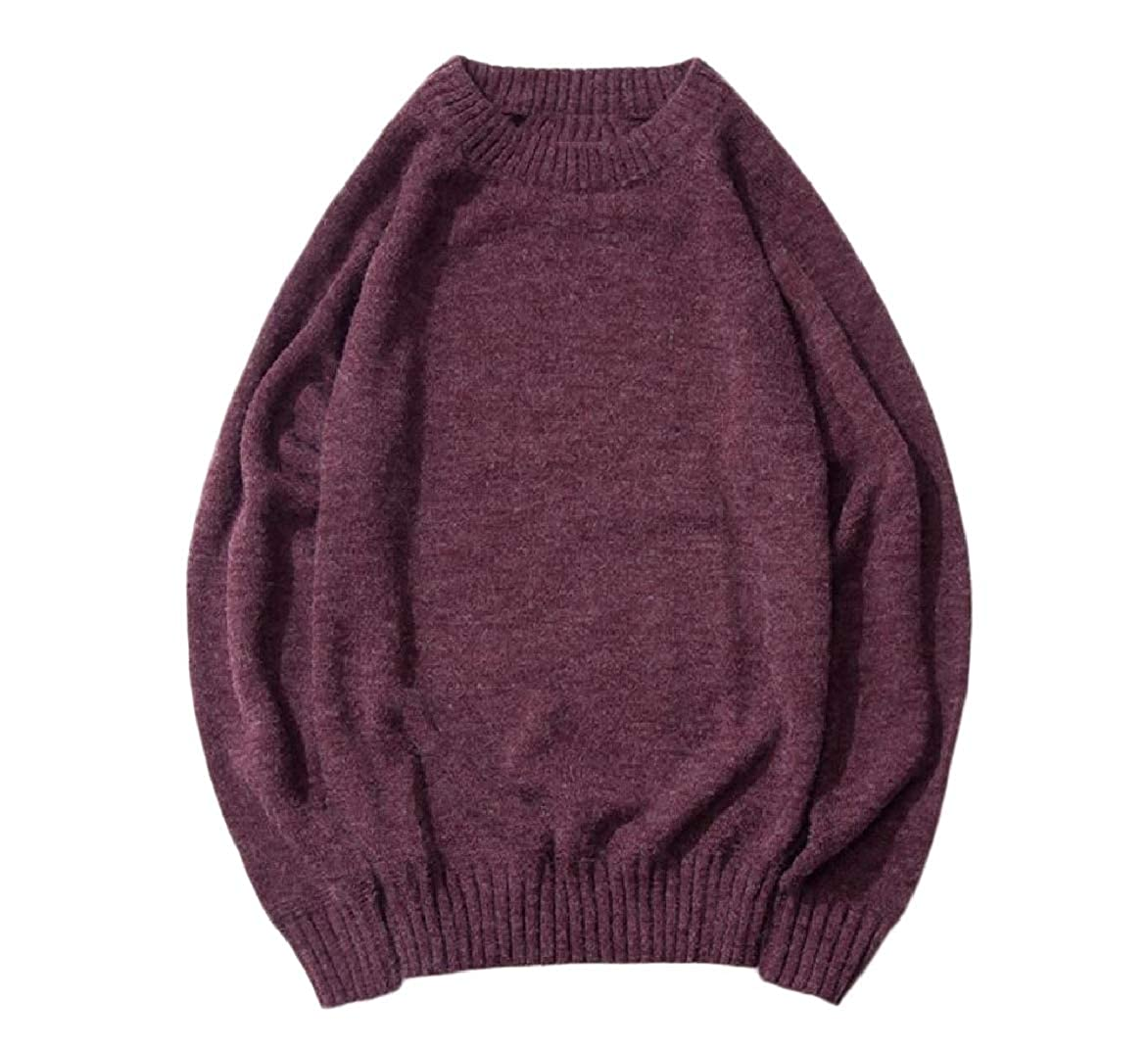 YUNY Mens Classic-Fit Winter Knit Warm Casual Loose Pullover Sweaters Wine Red S