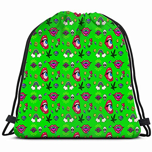 Psychedelic Abstract Signs Symbols Drawstring Backpack Gym Sack Lightweight Bag Water Resistant Gym Backpack For Women&Men For Sports,Travelling,Hiking,Camping,Shopping Yoga