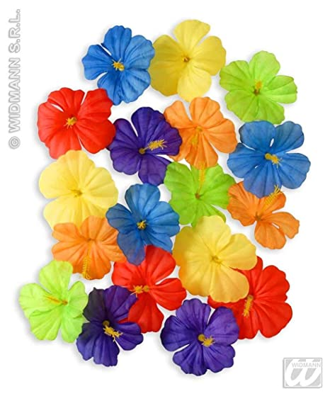 Hibiscus Flowers 18pc Accessory For Tropical Hawiian Fancy Dress