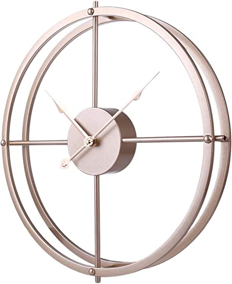 RuiyiF 24 Inch Silent Wall Clock Non Ticking Battery Operated