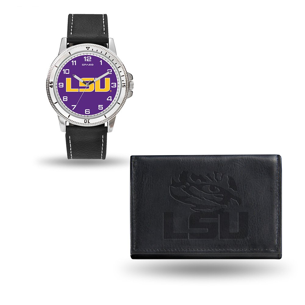 Rico Industries NCAA LSU Tigers Men's Watch and Wallet Set, Black, 7.5 x 4.25 x 2.75-Inch