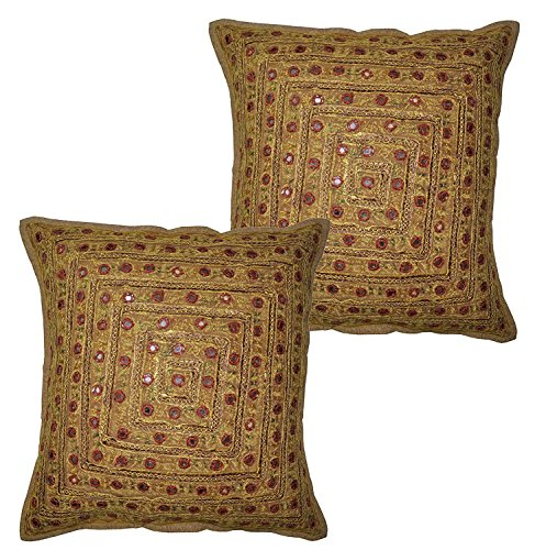 (2 Pcs Set Embroidery Indian Sari Throw Pillow Toss Cotton Cushion Cover Designer Traditional Mirror Work Throw Pillow Cover 16 x 16 Inch (Beige))