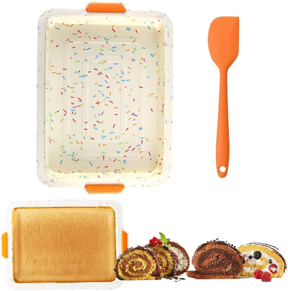 Swiss Roll Cake Mat with Non-slip Handle Flexible Multipurpose Silicone sheet Non-stick jelly roll pan Baking Tray Pastry Mat Pizza Cookies Mould with Spatula