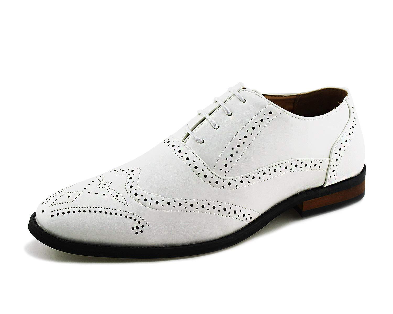 Jabasic Men Oxford Dress Shoes Casual Classic Lace Up Wingtip Shoes (12,White)
