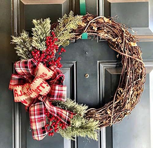 Amazon.com: Christmas Grapevine Wreath, Farmhouse wreath