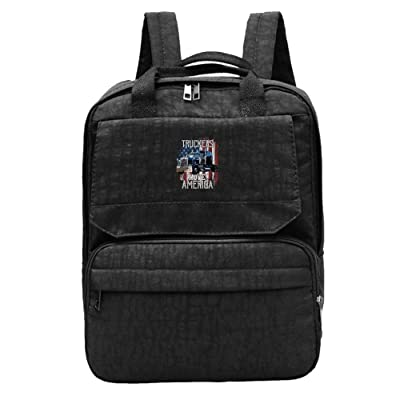 LU-4EVER Women American Flag Fishing Oxford Cloth Imported Climbing Gift Backpack Black lovely