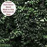 Dark Hunter Green Crinkle Cut Paper Shred Filler for Packing and Filling Gift Baskets 1 Pound