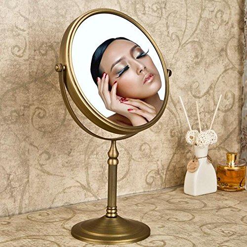Leyden TM Antique Brass Tabletop 3x Magnification Vanity Makeup Bathroom Mirror (White Vanity Mirror Antique)