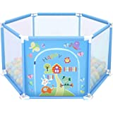 deAO Box per Bambini Parco Giochi e Piscina di Palline Palestrina Include Palle di Colore (Esagono Blu)