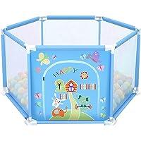 deAO Parque de Juegos Infantil Corralito para Bebé Incluye Bolas de Colores (Hexagonal Azul)