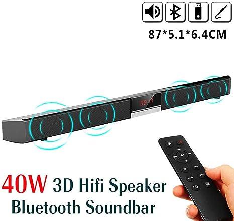 D-JIU Barra de Sonido HiFi Bluetooth TV Altavoz Smart Sound 3D Remoto Estéreo Multifunción incorporada Subwoofer Teatro en casa montado en la Pared para PC, móvil, TV, Soporte RCA/AUX: Amazon.es: Electrónica