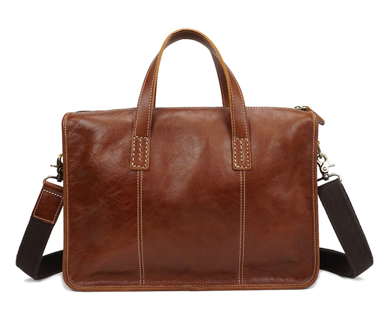 Genuine Leather Briefcase Shoulder Laptop Business Vintage Slim Bags for Men & Women-Dark Brown OCCIENTEC