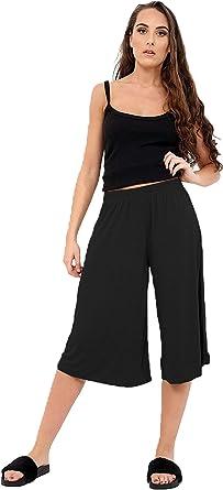 Women Elasticated Waist Plain Wide Leg Flared 3//4 Length Culottes Shorts 8-26