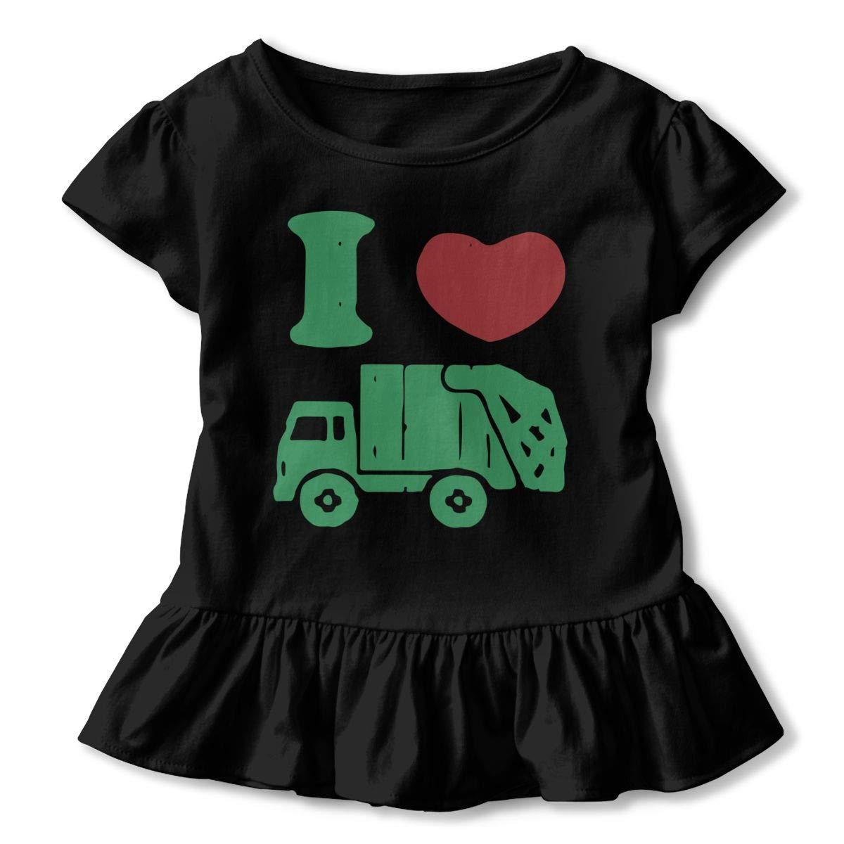 I Love Trash Garbage Trucks Baby Girls Short Sleeve Ruffles T-Shirt Tops 2-Pack Cotton Tee