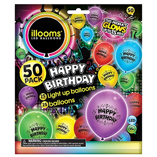 Unique 9 Assorted Happy Birthday Latex Led Light Up Balloons