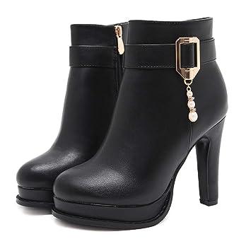 f28e44ec LBTSQ-Zapatos 11cm Botas de tacón Alto Tacones Gruesos Hebillas de cinturón  a Prueba de