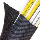 F6 Woven Split Tubular Harness Wrap - 1 1/2'' - Black 10 ft piece