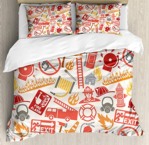 Duvet Cover Set Queen Size, Firefighting Themed Icons Pattern Emergency Exit Alarm Flames Matches Heroes, Decorative 3 Piece Bedding Set with 2 Pillow Shams, Multicolor ()
