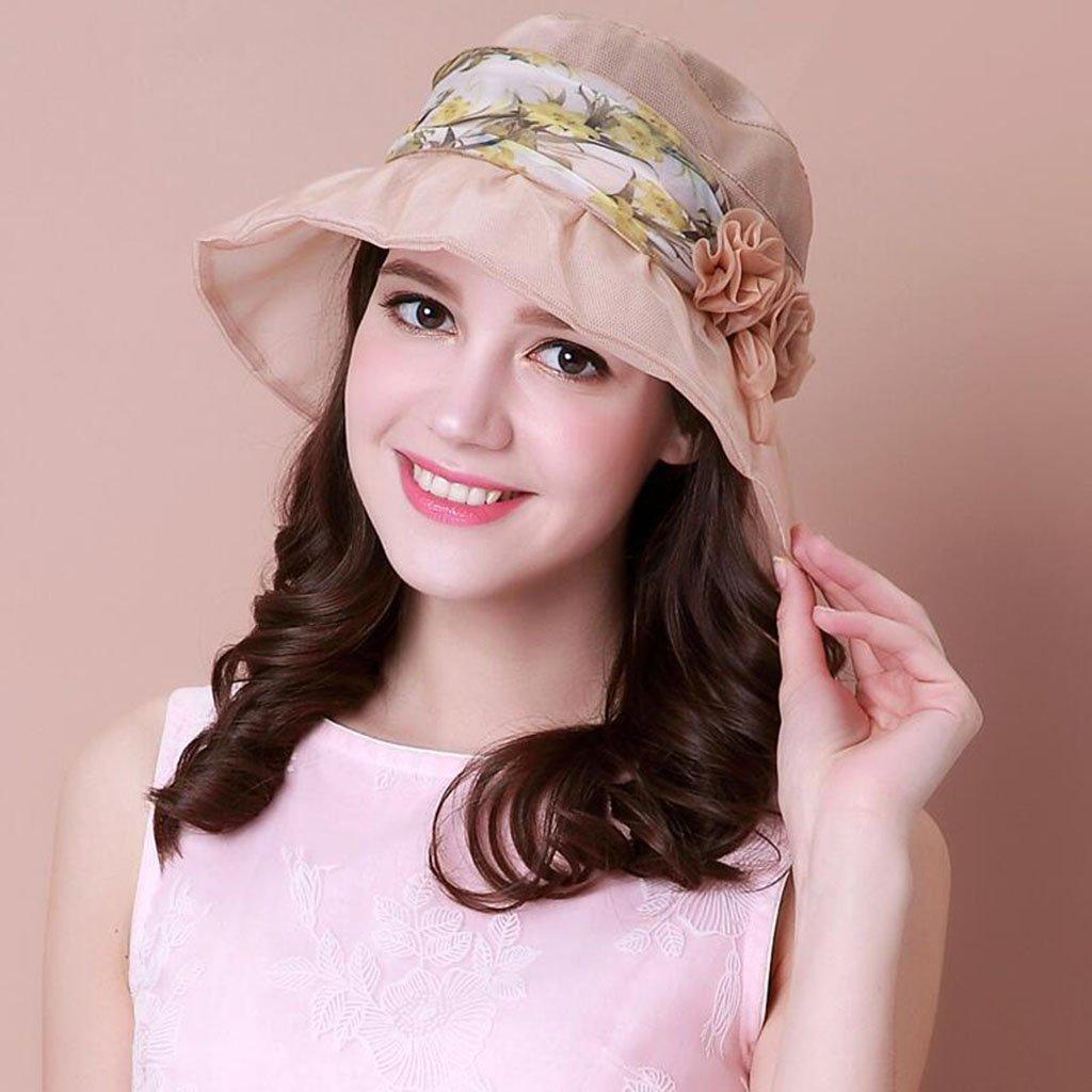 Beige QZ Home Summer Sun Predection Beach Mulberry Silk Visor Sunhat Summer Hat (color   Purple)