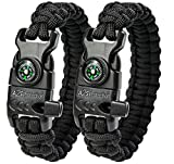 "A2S Protection Paracord Bracelet K2-Peak – Survival Gear Kit with Embedded Compass, Fire Starter, Emergency Knife & Whistle (Black / Black 9"")"