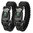 """A2S Protection Paracord Bracelet K2-Peak – Survival Gear Kit with Embedded Compass, Fire Starter, Emergency Knife & Whistle (Black / Black 8"""")"""