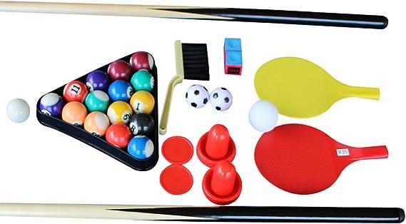 AIPINQI 4 en 1 Juego de mesas combinadas, mini futbolín de 80 cm para niños, juegos de hockey en casa, mini mesa de tenis de mesa para exterior/interior, mesa de billar de