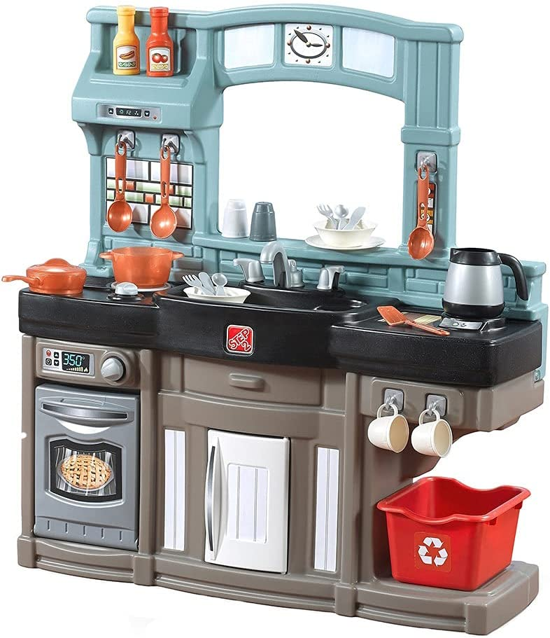 Amazon Com Step2 Best Chefs Kitchen Playset Kids Play With 25 Pc Toy Accessories Set Real Lights Sounds Multicolor Toys Games