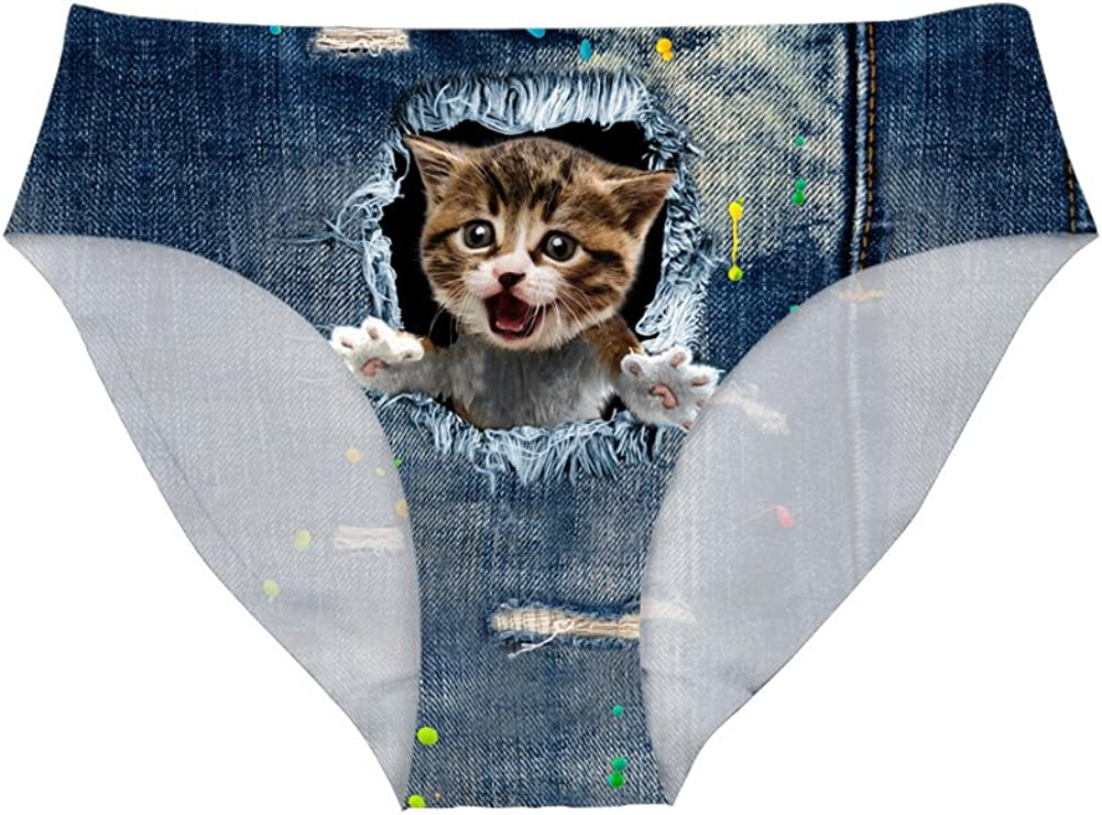 Dellukee Sexy Women Underwear Briefs Breathable Hipster Panty White Alpaca Print